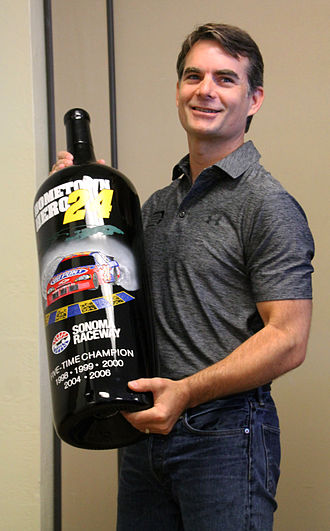 2015 Toyota/Save Mart 350 - Jeff Gordon received a commemorative wine bottle celebrating his record holding wins and final race at Sonoma Raceway, 2015