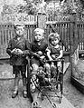 Tableau, kids, toy, yard, baby carriage, teddy bear, rubber ball Fortepan 12562.jpg