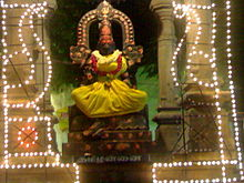 Tamil language as a goddess; The caption on the pedestal reads Tamil
