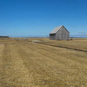 Tantramar Marshes - A hay barn of a type once numerous on the Tantramar Marsh.