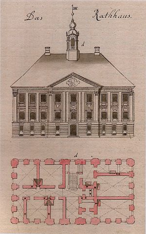 Johann Heinrich Bartholomäus Walter - Tartu Town Hall from the collection of Johann Christoph Brotze.