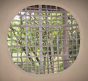 Woven bamboo window in Japan