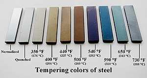 "Tempering (metallurgy) - Pieces of through-tempered steel flatbar. The first one, on the left, is normalized steel. The second is quenched, untempered martensite. The remaining pieces have been tempered in an oven to their corresponding temperature, for an hour each. ""Tempering standards"" like these are sometimes used by blacksmiths for comparison, ensuring that the work is tempered to the proper color."