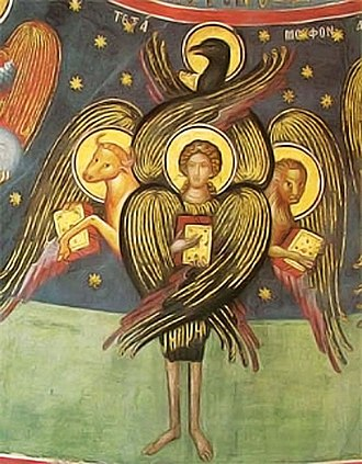 Christian angelology - A cherub, as described by Ezekiel and according to traditional Christian iconography.