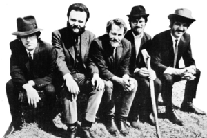The Band - The Band in 1969: (left to right) Manuel, Hudson, Helm, Robertson and Danko