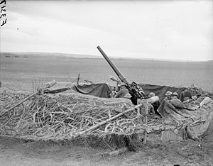 53rd (City of London) Heavy Anti-Aircraft Regiment, Royal Artillery - 3.7-inch anti-aircraft gun attached to the AASF (Advanced Air Striking Force) near Rheims for airfield defence, 23 March 1940.