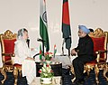 The Chairperson of BNP and Leader of Opposition, Begum Khaleda Zia meeting the Prime Minister, Dr. Manmohan Singh, in Dhaka, Bangladesh on September 07, 2011.jpg
