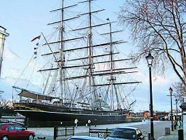 De Cutty Sark bij het Nationale Zeevaartmuseum in Greenwich