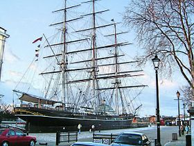 O Cutty Sark, ancorado em Greenwich, Londres, Inglaterra.