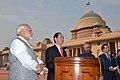 The President, Shri Ram Nath Kovind and the Prime Minister, Shri Narendra Modi with the President of the Socialist Republic of Vietnam, Mr. Tran Dai Quang, at the Ceremonial Reception, at Rashtrapati Bhavan, in New Delhi (3).jpg