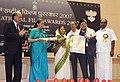 The President, Smt. Pratibha Devisingh Patil presenting the Dada Saheb Phalke Award for the year 2007 to the Playback Singer, Shri Manna Dey, at the 55th National Film Awards function, in New Delhi on October 21, 2009.jpg