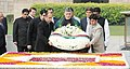 The President of Islamic Republic of Afghanistan, Mr. Hamid Karzai laying wreath at the Samadhi of Mahatma Gandhi, at Rajghat, in Delhi on November 12, 2012.jpg