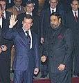The President of Russia, Mr. Dmitry A. Medvedev being received by the Minister of State for External Affairs and Information & Broadcasting, Shri Anand Sharma on his arrival at Delhi Airport on December 04, 2008 (1).jpg