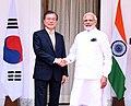 The Prime Minister, Shri Narendra Modi meeting the President of the Republic of South Korea, Mr. Moon Jae-in, at Hyderabad House, in New Delhi on July 10, 2018.JPG