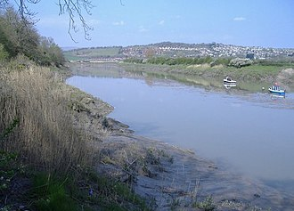 River Usk - Looking north across the river towards Caerleon, near Newport