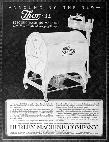 1920 advertisement for the Thor electric washing machine. The Saturday evening post (1920) (14804309363).jpg