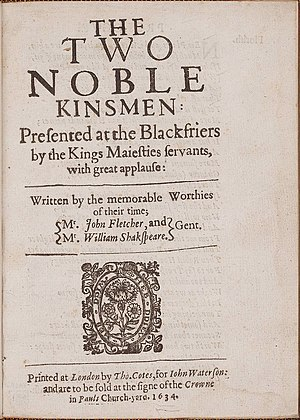 The Two Noble Kinsmen - Title page of the 1634 quarto
