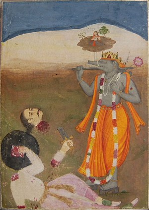 Hiranyaksha - The boar avatar Varaha, the third incarnation of Viṣṇu, stands in front of the decapitated body of the demon Hiranyaksha