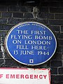 The first flying bomb on London fell here 1st June 1944 - English Heritage Blue Plaque.JPG