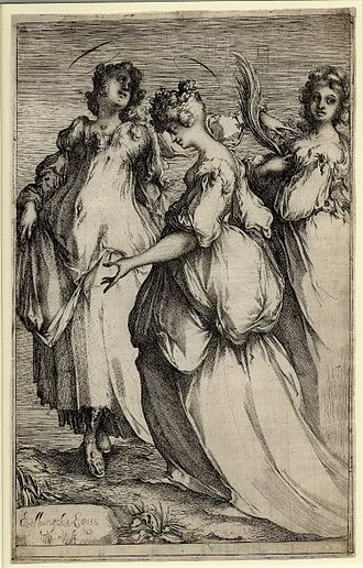 Jacques Bellange - Etching, Three Holy Women, signed Bellangelus. Eques /In. fe.