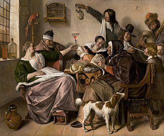 Oriental carpets in Renaissance painting - Jan Steen, The way you hear it, circa 1665, Mauritshuis