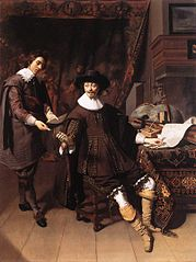 Constantijn Huygens and his clerk, by Thomas de Keijser - 1627 Note the theorbo at the table...