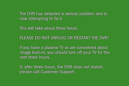 Green screen of death encountered for serious errors on TiVo devices. TiVO green screen.jpg