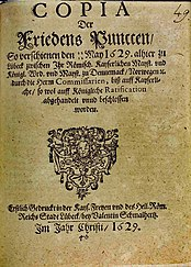Title page of a print with the content of the Lübeck Peace