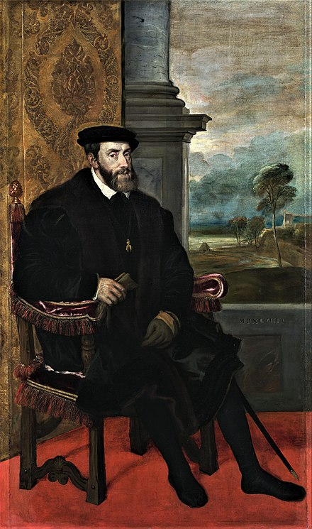 Emperor Charles V was born in Ghent in 1500 Titian - Portrait of Charles V Seated - WGA22964.jpg