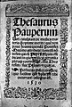 Title page to 'Thesaurus Pauperum' Wellcome L0027257.jpg