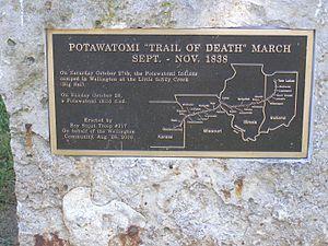 Potawatomi Trail of Death - Fifth Street or Missouri 224 Along the Missouri River in Wellington, Missouri is the route of the Potawatomi Trail of Death.