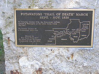 Potawatomi Trail of Death - Fifth Street or Missouri 224 Along the Missouri River in Wellington, Missouri is the route of the Potawatomi Trail of Death.