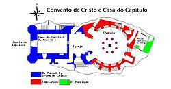 Planta progressiva do Convento de Cristo.