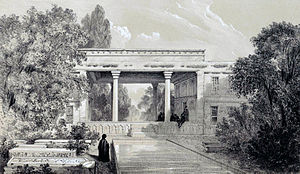 Tomb of Hafez - Drawing by Eugène Flandin, 1840s
