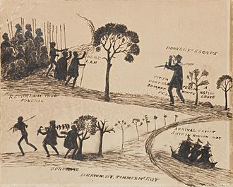 William Buckley (convict) - Buckley's transportation and escape as depicted by 19th century Aboriginal artist Tommy McRae