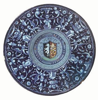 Bindo Altoviti - Tondino with the coat of arms of Bindo Altoviti, Fiammetta Soderini and the Holy See