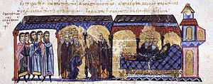 Michael IV the Paphlagonian - Tonsure and death of Michael IV, as depicted in the Madrid Skylitzes