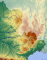 Topographic map of Massif Central with France Large South-West highlighted.png