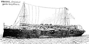 French seaplane carrier Foudre - Foudre as a torpedo boat tender.