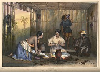 Nixtamalization - An 1836 lithograph of tortilla production in rural Mexico.