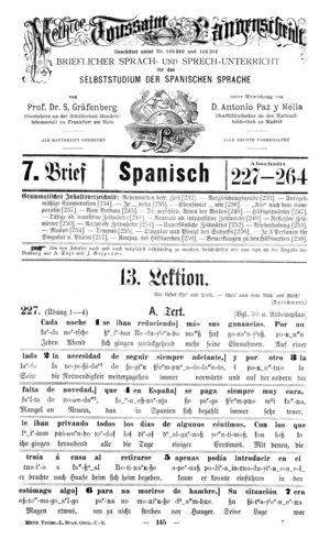 Interlinear gloss - Interlinear text in Toussaint-Langenscheidt Spanisch, a Spanish language textbook for German speakers, 1910.