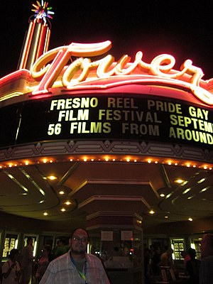 Tower Theatre (Fresno, California) - Theater entrance and neon lighting in 2011