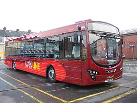 Transdev Burnley & Pendle bus 1854 Mainline livery Volvo B7RLE Wright Eclipse II FJ58 LSN 15 March 2009.jpg