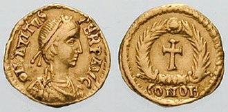 Solidus (coin) - Image: Tremissis Avitus RIC 2402