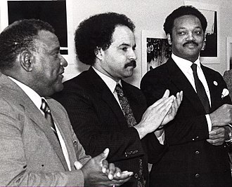 Jesse Jackson - Jackson with Maryland's Sen. Decatur Trotter and Del. Curt Anderson during a Maryland Legislative Black Caucus meeting in Annapolis, Maryland (1988)