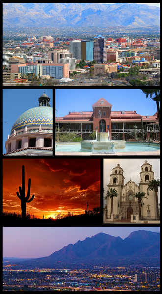 Tucson, Arizona - From upper left: Downtown Tucson skyline, Pima County Courthouse, Old Main, University of Arizona, Saguaro National Park, St. Augustine Cathedral, Santa Catalina Mountains