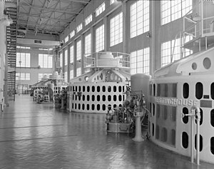 Holter Dam - Interior of the Holter Dam powerhouse in 1994. Generating turbine No. 1 is in the foreground.