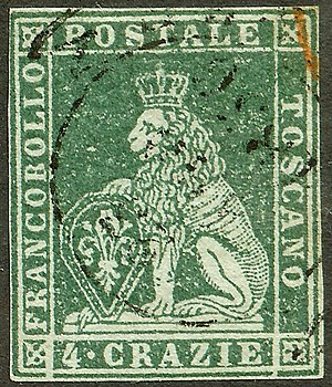Marzocco - The Marzocco was crowned on Tuscany's first postage stamp, 1851.