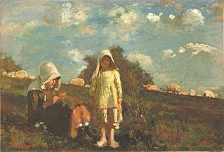 Two Girls with Sunbonnets in a Field