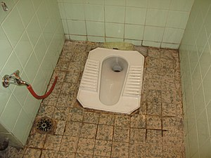 Squat toilet - Image: Typical toilet in urban Syria flush toilet squatting pan (3232388550)